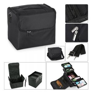large beauty make up nail tech cosmetic box artist vanity case storage bag salon bus.