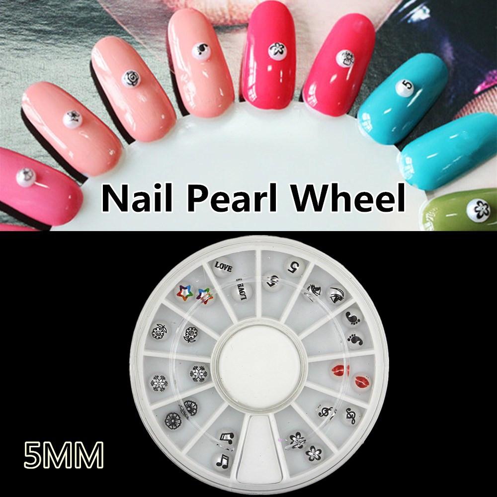 1 Wheel Pearl With Flower Print Studs Sexy Lip Acrylic Nail Art