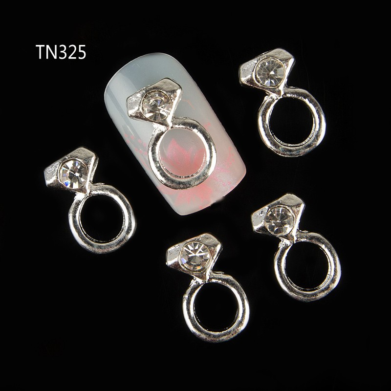 10pc Silver Alloy Glitter 3d Nail Art Rings Decorations with ...
