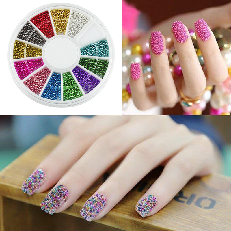 3 Sets Manicure 12 Color Steels Metal Beads Studs For Nails Design